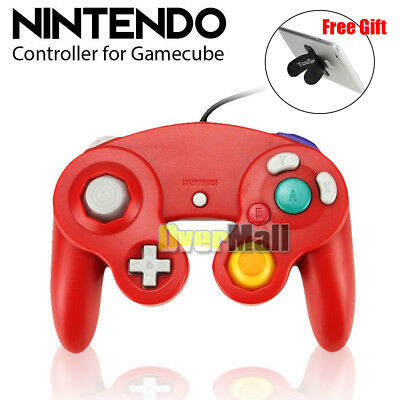 Red Dual Analog Shock Controller Wired Game Pad for Nintendo Gamecube NGC GC Wii