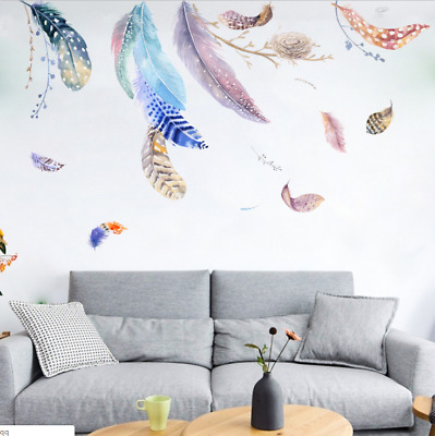 USA Feather Wall Sticker Art Wall Decal Kid Bedroom Home Decoration Floral Decal
