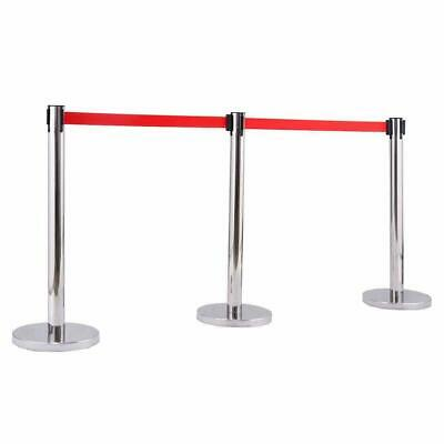 6 Pcs Red Belt Stanchion Queue Posts Stand Rope Barrier Crowd Control Steel