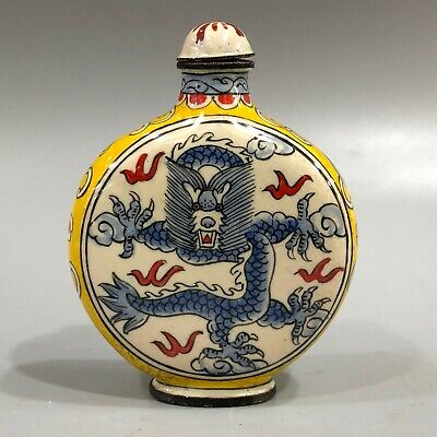 Chinese Antique Old Cloisonne Handwork Collectible Dragon Round Snuff Bottle