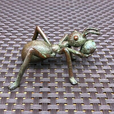 Chinese Collectible Antique Old Copper Handwork Lifelike Ant Moving House Statue