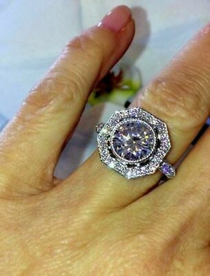 2.20Ct Round Cut VVS1/D Diamond Halo Engagement Ring Solid 14K White Gold Finish