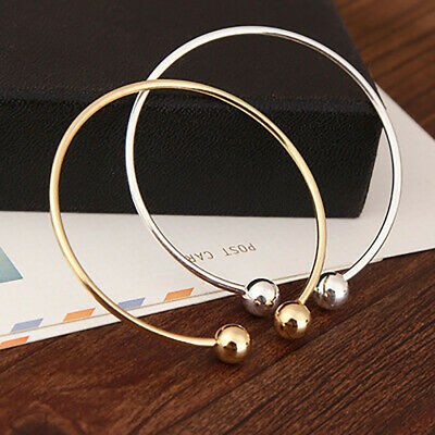Chic Women Open Cuffs Bangle Bracelet Screw-end Ball Charms Silver Gold Jewelry