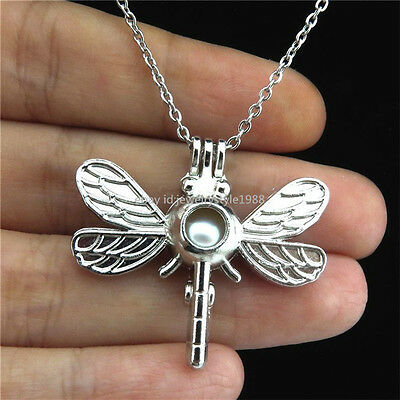 K709 Dragonfly Locket Necklace Essential Oil Diffuser Dangle Leaf Charms