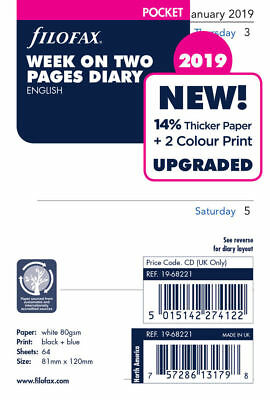 Filofax 2019 pocket Week On 2 Two Pages diary Organiser Insert Refill 19-68221