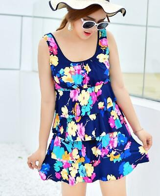 Woman U-neck Layer SwimDRESS padded bra FLORAL printed Swimwear sleeveless 1702