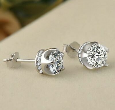 1.50Ct Round-Cut Diamond Halo Brilliant Stud Earrings 925 Sterling Silver