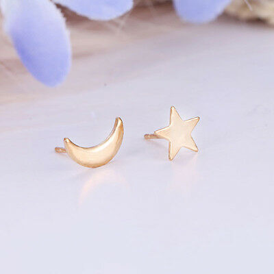 Cute Small Moon Star Heart Ear Stud Earrings Women Ladies Fashion Jewelry JD