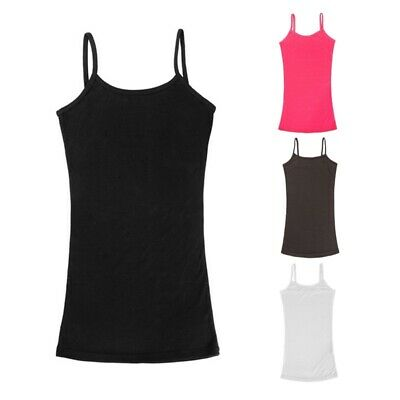 Ladies Women Plain Sleeveless Ladies Stretch Long Strappy Camisole Vest Tank Top