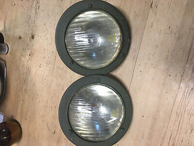 Willys NEKAF Jeep M38A1 FAKO Headlights with adaptors x2 Excellent