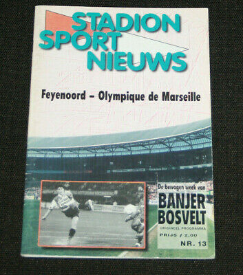 Football Programme Feyennord V Olympique Marseille Om Champions League 1999