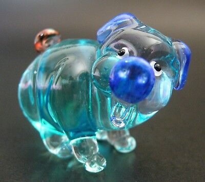 Cute Glass PIG Painted Blue & Turquoise Glass Ornament Curio Glass Animal Gift