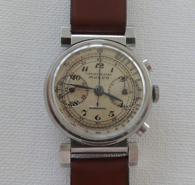 Mulco Chronograph Men's Watch, Stainless Steel, 1936-39, Hand Winding Movement