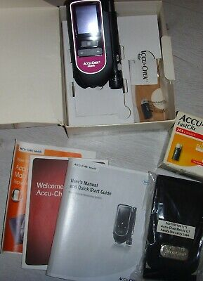 Accu-chek mobile blood glucose monitor system, manuals, cable and test strips
