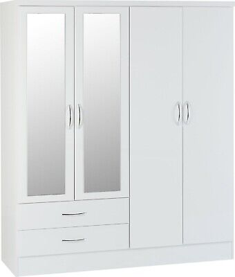 Nevada White Gloss 4 Door 2 Drawer Mirrored Wardrobe