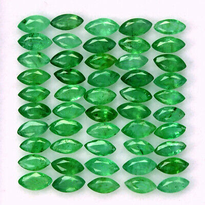 Natural Emerald Marquise Cut 4x2 mm Lot 50 Pcs 2.98 Cts Untreated Loose Gemstone