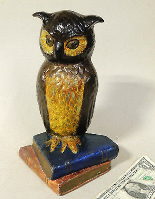 Antique vtg Eastern Specialty Co OWL on Books Cast Iron DOORSTOP Good Repaint