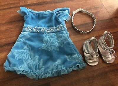 American Girl Doll Kanani Blue Party Dress Outfit With Shoes Sandals & Headband