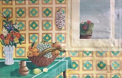 Very Large Signed French Modernist Oil - Kitchen Table Interior Still Life