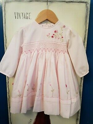 Sarah Louise Pretty Gorls Pale Pink Patterned Dresd Age 12 Months Vgc