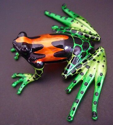 LARGE Glass FROG Brightly Painted Curio Glass Ornament Glass Animal Figure Gift