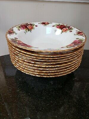 "Royal Albert Old Country Roses 8"" Rim Soup Bowls ~ ~ MADE IN ENGLAND, (10)"