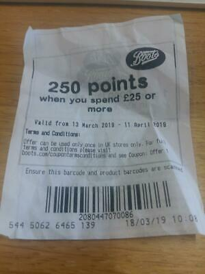 """Boots Coupon - """"250 points when you spend £25 or more"""""""