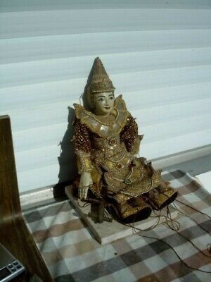 Alte old Marionette Burma Thai wood carved puppet string burmese 53 cm