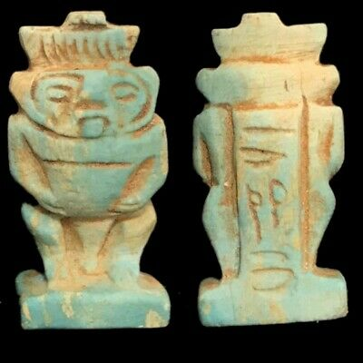 Beautiful Ancient Egyptian Blue Bes Amulet 300 Bc (1)