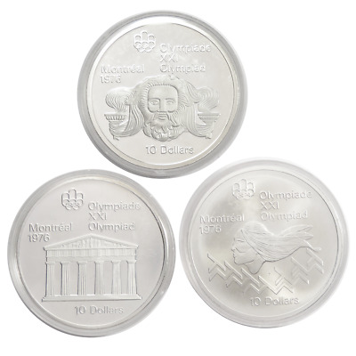 Lot of 3 - Random $10 Candian Olympic Sterling Silver Coins 4.3362 ozt