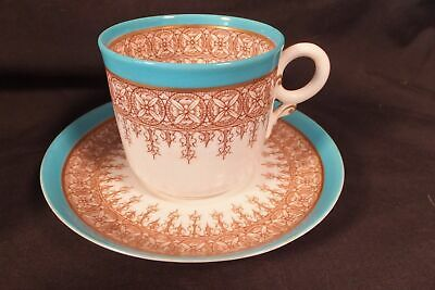 Antique Royal Worcester Turquoise & Grille Work Tea Cup & Saucer - Fine & Rare!