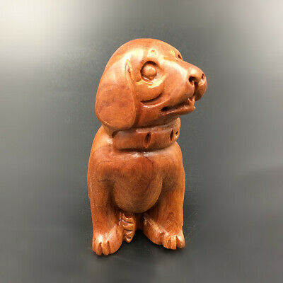 Statue Wooden Wood Dog Furnishings By Hand Carving Folk Art Decorate Sandalwood