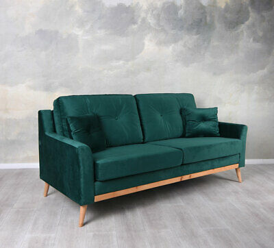 Dreisitzer Couch Sofa Samt Smaragd Polstersofa Sofabank Samtcouch Loungesofa