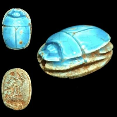 Beautiful Ancient Egyptian Glazed Scarab 300 Bc (1)
