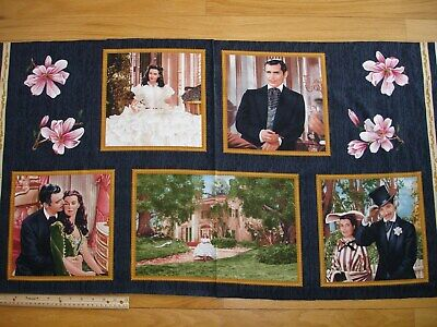Gone With The Wind Magnolia Scarlette Rhett Cotton Quilt Fabric Panel RARE OOP