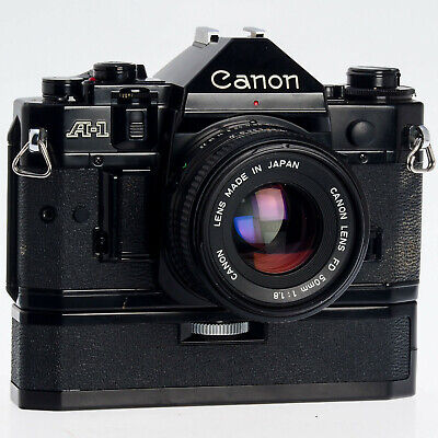 Canon A-1 35mm Film Camera with FD 50mm F1.8 Lens and Power Winder A,