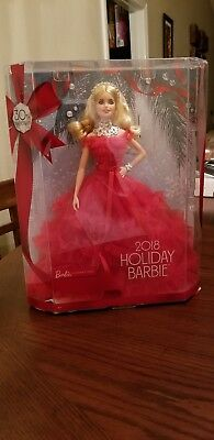 NEW RARE 2018 Collectible Blonde Holiday Barbie Doll 30th Anniversary by Mattel
