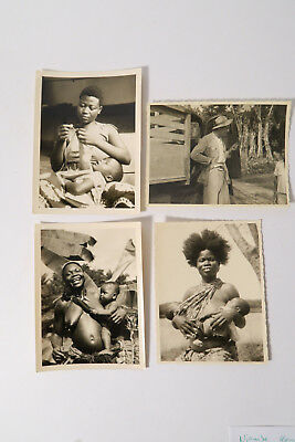 4 alte Fotos Ngombe Mutter Zwillinge Mother Twins 1959 Kongo Congo Afrozip