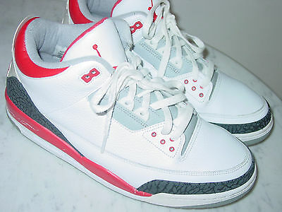 reputable site aabbb 1bd75 2006 Nike Air Jordan Retro 3 White Fire Red Cement Shoes Size 13 Sold