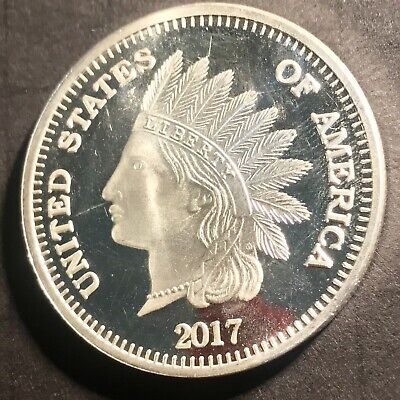 2017 Indian Head Cent 1oz Silver Medallion From SilverTowne Mint Free Shipping