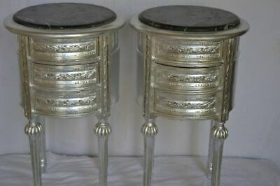 Pair Of Silver Nightstands Lxvi Style Bedside Tables