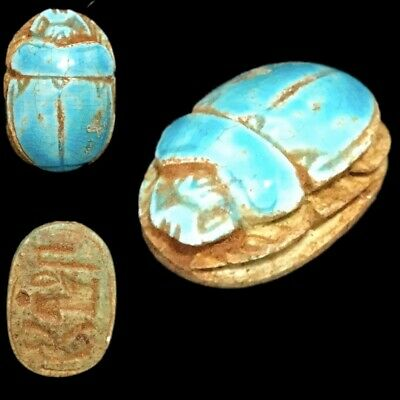 Beautiful Ancient Egyptian Glazed Scarab 300 Bc (4)
