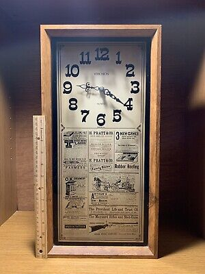Awesome Vintage Verichron Wood & Glass Wall Clock With Newspaper Print On Glass.