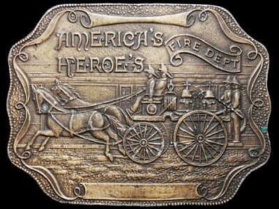 IJ05127 VINTAGE 1970s **FIRE DEPARTMENT** HORSE DRAWN FIRE WAGON BELT BUCKLE