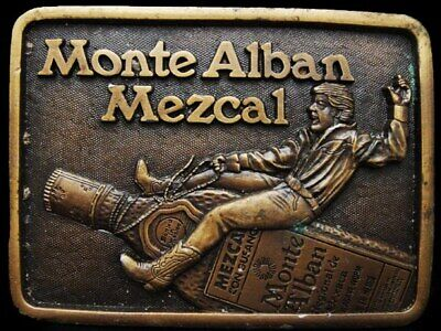 IJ19163 VERY COOL VINTAGE 1970s ***MONTE ALBAN MEZCAL*** BOOZE BELT BUCKLE
