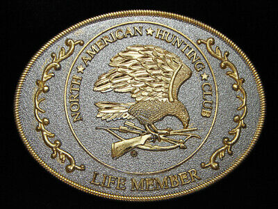 PE05128 VINTAGE 1980s **NORTH AMERICAN HUNTING CLUB LIFE MEMBER** BELT BUCKLE