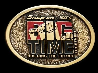 NB13125 VINTAGE 1990s **SNAP-ON BIG TIME** SOLID BRASS BUCKLE