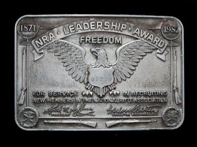 Nb25126 Vintage 1982 **Nra Leadership Award** Member Belt Buckle