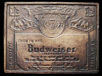IJ15170 VINTAGE 1970s GENUINE ***BUDWEISER*** LAGER BEER BELT BUCKLE