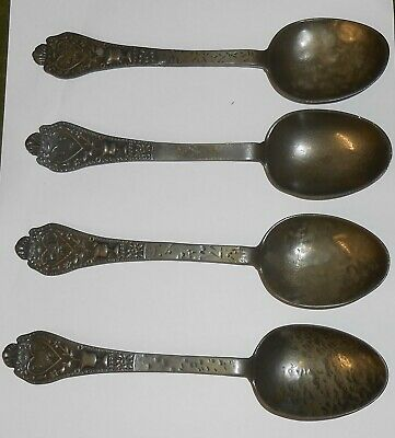 4 Original Victorian Dutch Pewter Marriage Spoons